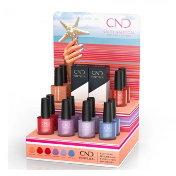 Display lac unghii saptamanal CND Vinylux Nauti Nautical Pop 16x15ml
