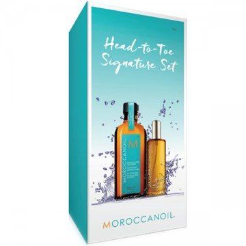 Set Moroccanoil Head To Toe Signature Original (Ulei tratament par100ml + Ulei corp 50ml)